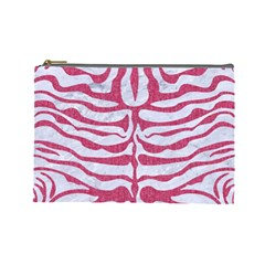 Skin2 White Marble & Pink Denim (r) Cosmetic Bag (large)  by trendistuff