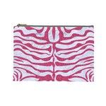 SKIN2 WHITE MARBLE & PINK DENIM (R) Cosmetic Bag (Large)  Front
