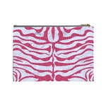 SKIN2 WHITE MARBLE & PINK DENIM (R) Cosmetic Bag (Large)  Back