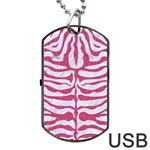 SKIN2 WHITE MARBLE & PINK DENIM (R) Dog Tag USB Flash (Two Sides) Front