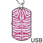 SKIN2 WHITE MARBLE & PINK DENIM (R) Dog Tag USB Flash (Two Sides) Back