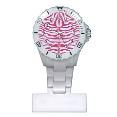 Skin2 White Marble & Pink Denim (r) Plastic Nurses Watch by trendistuff