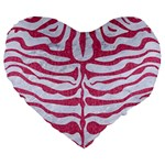 SKIN2 WHITE MARBLE & PINK DENIM (R) Large 19  Premium Flano Heart Shape Cushions Front