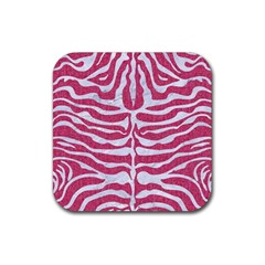 Skin2 White Marble & Pink Denim Rubber Coaster (square)  by trendistuff