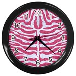 SKIN2 WHITE MARBLE & PINK DENIM Wall Clocks (Black) Front