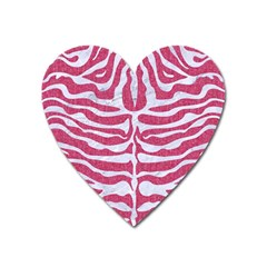 Skin2 White Marble & Pink Denim Heart Magnet by trendistuff