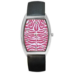 Skin2 White Marble & Pink Denim Barrel Style Metal Watch