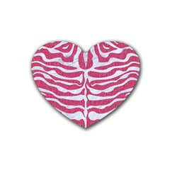 Skin2 White Marble & Pink Denim Rubber Coaster (heart)