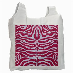 Skin2 White Marble & Pink Denim Recycle Bag (one Side) by trendistuff