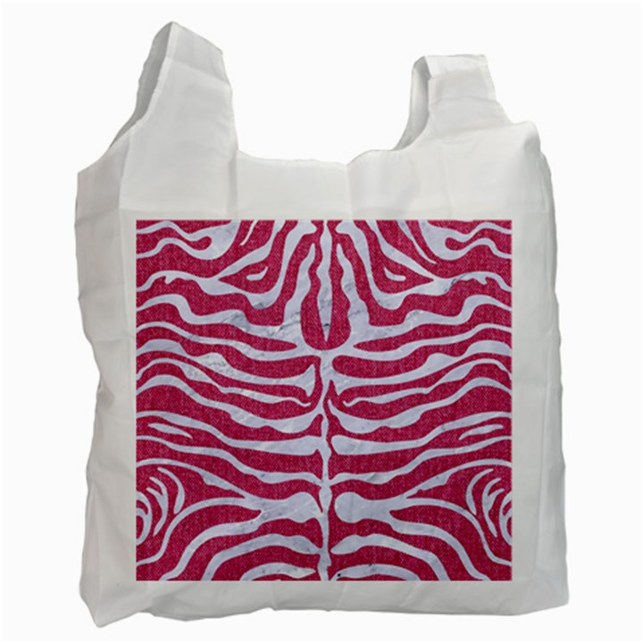SKIN2 WHITE MARBLE & PINK DENIM Recycle Bag (Two Side)