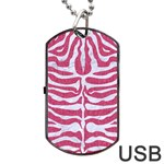 SKIN2 WHITE MARBLE & PINK DENIM Dog Tag USB Flash (One Side) Front