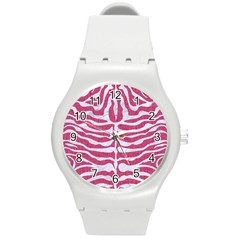 Skin2 White Marble & Pink Denim Round Plastic Sport Watch (m) by trendistuff