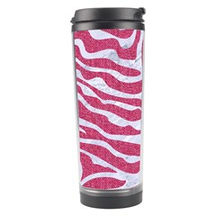 Skin2 White Marble & Pink Denim Travel Tumbler