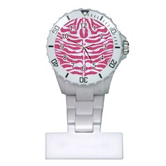 Skin2 White Marble & Pink Denim Plastic Nurses Watch by trendistuff