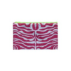 Skin2 White Marble & Pink Denim Cosmetic Bag (xs) by trendistuff
