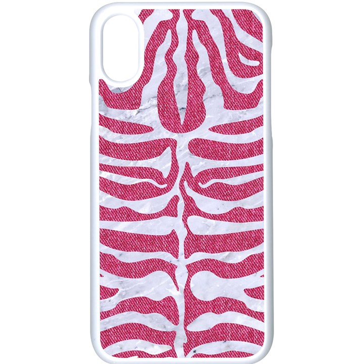 SKIN2 WHITE MARBLE & PINK DENIM Apple iPhone X Seamless Case (White)