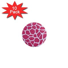 Skin1 White Marble & Pink Denim (r) 1  Mini Magnet (10 Pack)  by trendistuff