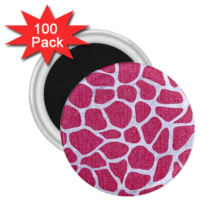 SKIN1 WHITE MARBLE & PINK DENIM (R) 2.25  Magnets (100 pack)