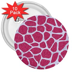 SKIN1 WHITE MARBLE & PINK DENIM (R) 3  Buttons (10 pack)