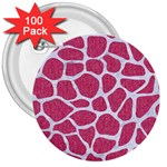 SKIN1 WHITE MARBLE & PINK DENIM (R) 3  Buttons (100 pack)  Front