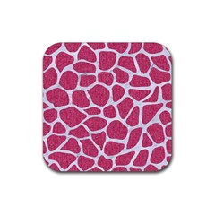Skin1 White Marble & Pink Denim (r) Rubber Coaster (square)  by trendistuff