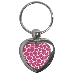 Skin1 White Marble & Pink Denim (r) Key Chains (heart)
