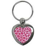 SKIN1 WHITE MARBLE & PINK DENIM (R) Key Chains (Heart)  Front