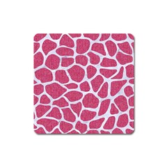 Skin1 White Marble & Pink Denim (r) Square Magnet by trendistuff