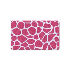 Skin1 White Marble & Pink Denim (r) Magnet (name Card) by trendistuff