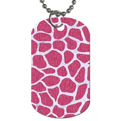 SKIN1 WHITE MARBLE & PINK DENIM (R) Dog Tag (Two Sides)
