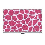 SKIN1 WHITE MARBLE & PINK DENIM (R) Business Card Holders Front