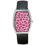 SKIN1 WHITE MARBLE & PINK DENIM (R) Barrel Style Metal Watch Front