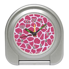 Skin1 White Marble & Pink Denim (r) Travel Alarm Clocks by trendistuff