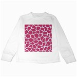 SKIN1 WHITE MARBLE & PINK DENIM (R) Kids Long Sleeve T-Shirts Front