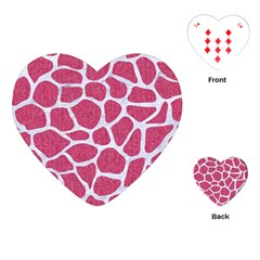 SKIN1 WHITE MARBLE & PINK DENIM (R) Playing Cards (Heart)