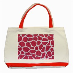 SKIN1 WHITE MARBLE & PINK DENIM (R) Classic Tote Bag (Red)