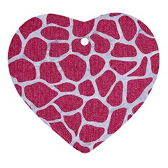 SKIN1 WHITE MARBLE & PINK DENIM (R) Heart Ornament (Two Sides)