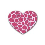 SKIN1 WHITE MARBLE & PINK DENIM (R) Rubber Coaster (Heart)  Front