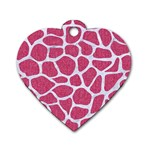 SKIN1 WHITE MARBLE & PINK DENIM (R) Dog Tag Heart (Two Sides) Front