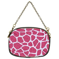 SKIN1 WHITE MARBLE & PINK DENIM (R) Chain Purses (Two Sides)