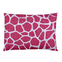 Skin1 White Marble & Pink Denim (r) Pillow Case by trendistuff