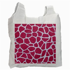 SKIN1 WHITE MARBLE & PINK DENIM (R) Recycle Bag (Two Side)