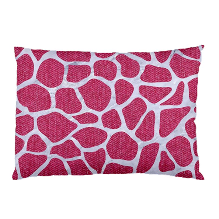 SKIN1 WHITE MARBLE & PINK DENIM (R) Pillow Case (Two Sides)