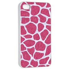 SKIN1 WHITE MARBLE & PINK DENIM (R) Apple iPhone 4/4s Seamless Case (White)