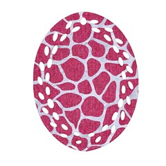 SKIN1 WHITE MARBLE & PINK DENIM (R) Oval Filigree Ornament (Two Sides)
