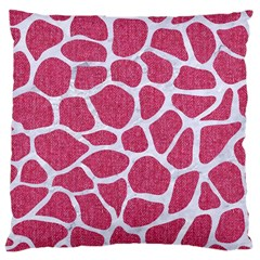 Skin1 White Marble & Pink Denim (r) Large Cushion Case (two Sides) by trendistuff