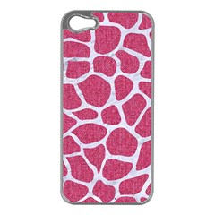 SKIN1 WHITE MARBLE & PINK DENIM (R) Apple iPhone 5 Case (Silver)