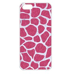 SKIN1 WHITE MARBLE & PINK DENIM (R) Apple iPhone 5 Seamless Case (White)