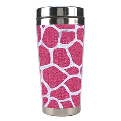 SKIN1 WHITE MARBLE & PINK DENIM (R) Stainless Steel Travel Tumblers