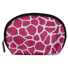 SKIN1 WHITE MARBLE & PINK DENIM (R) Accessory Pouches (Large)